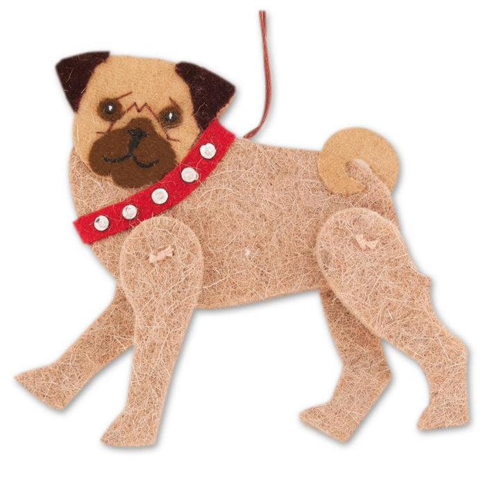 Jaunty Pug Wool Ornament