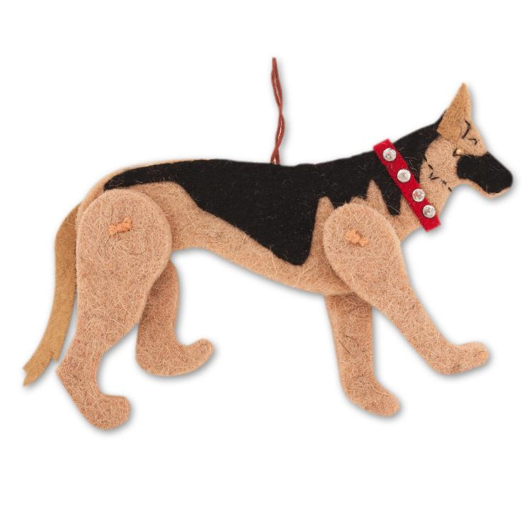 Jaunty German Shepherd Wool Ornament