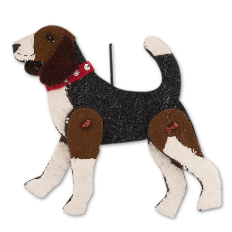 Jaunty Beagle Wool Ornament