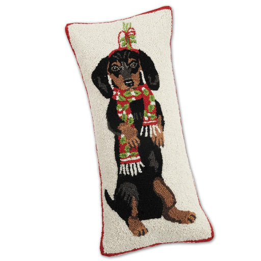 Holiday Beggar Dachshund Hooked Pillow