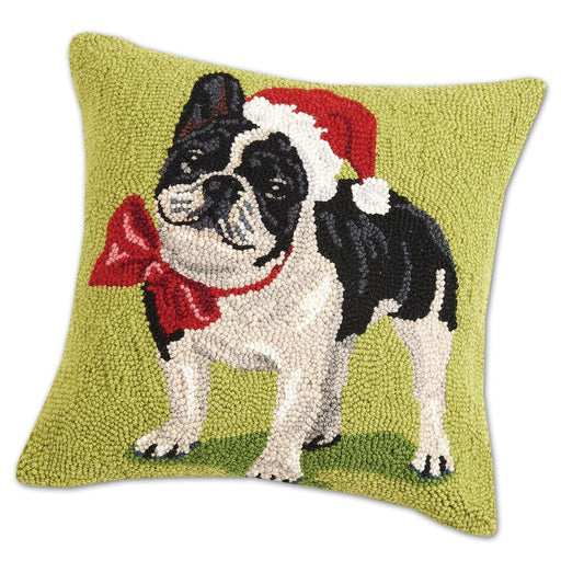 Santa French Bulldog Hooked Pillow