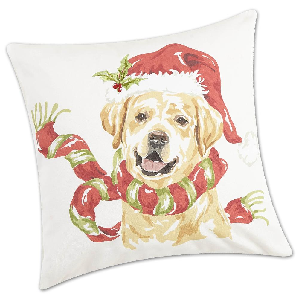 Holly Jolly Yellow Lab Dog Accent Pillow