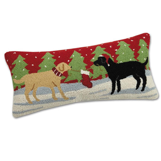 Playful Christmas Labs Hooked Dog Pillow
