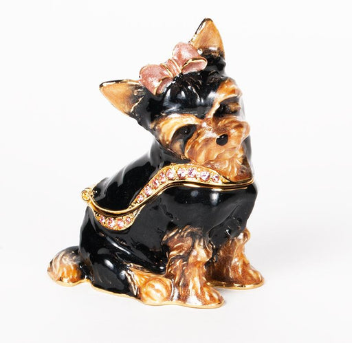 Yorkie with Red Bow Figurine Box