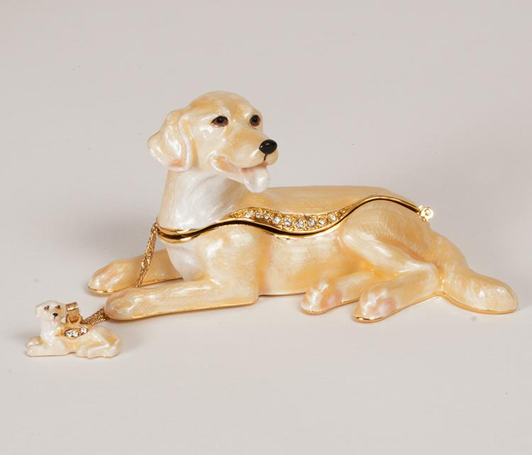 Yellow Labrador Figurine Box