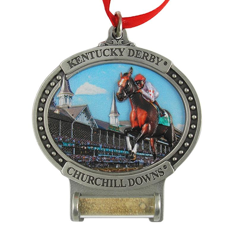 Kentucky Derby Pewter Ornament with Track Dirt