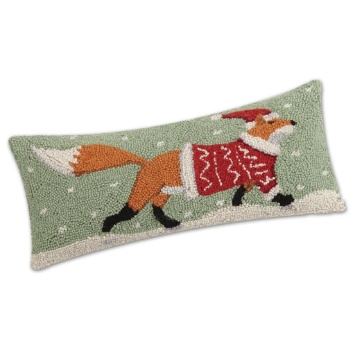 Christmas Fox Hooked Pillow