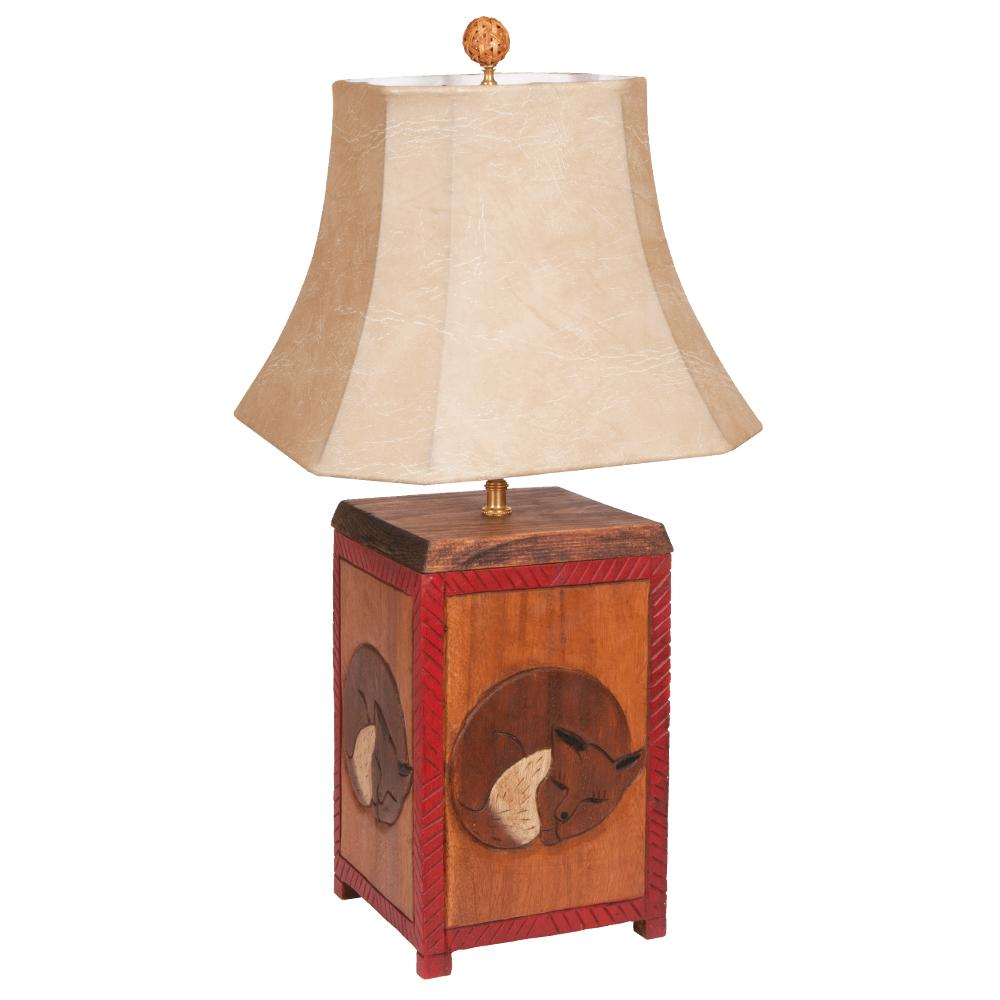 Fox Wood Carved Table Lamp
