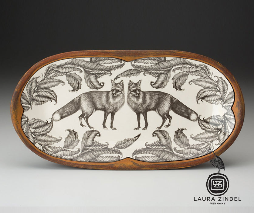 Standing Foxes Oblong Serving Dish by Laura Zindel