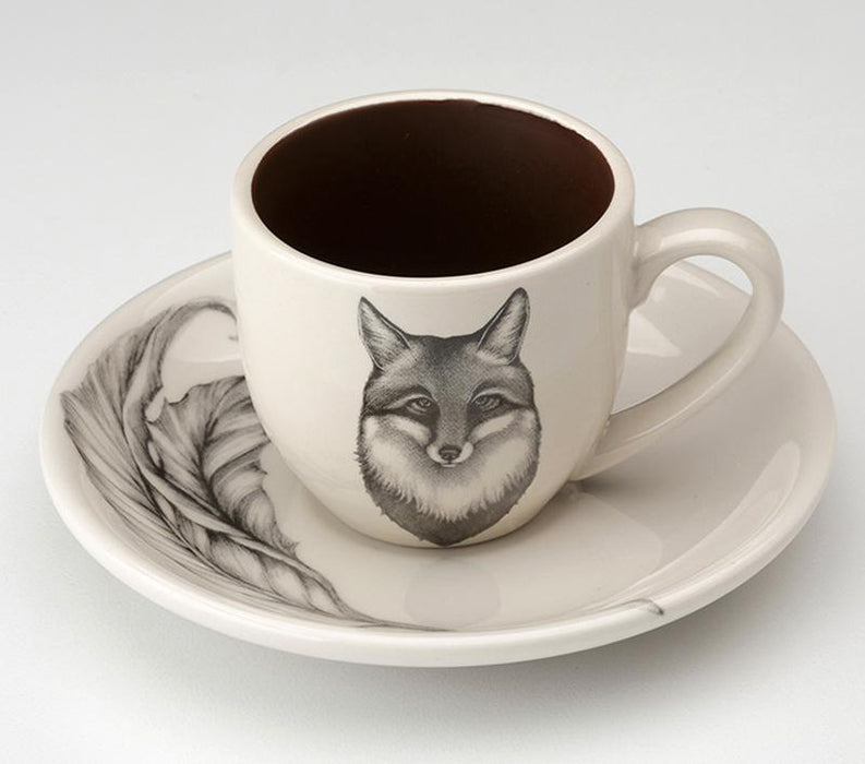 Fox Portrait Espresso Cup and Saucer by Laura Zindel