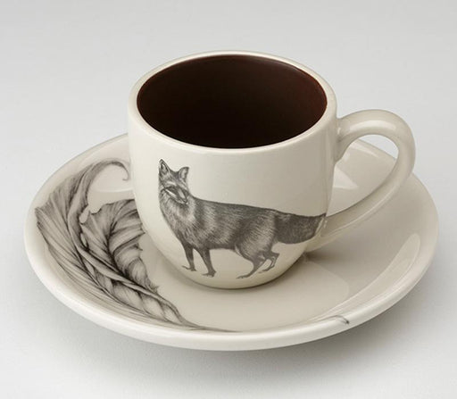 Standing Fox Espresso Cup and Saucer by Laura Zindel