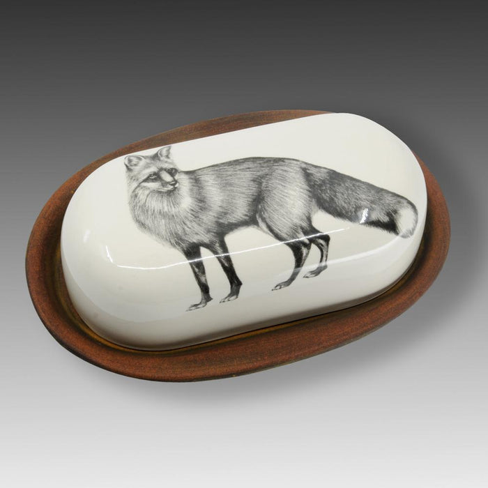 Standing Fox Butter Dish by Laura Zindel