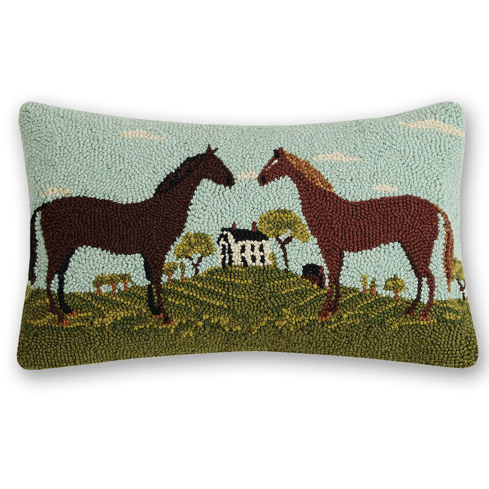 Country Home Horses Hooked Pillow