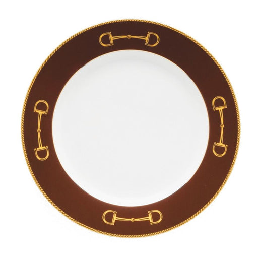 "Cheval Chestnut Brown Dinner Plate 10 5/8"" - Julie Wear Equestrian Tableware"