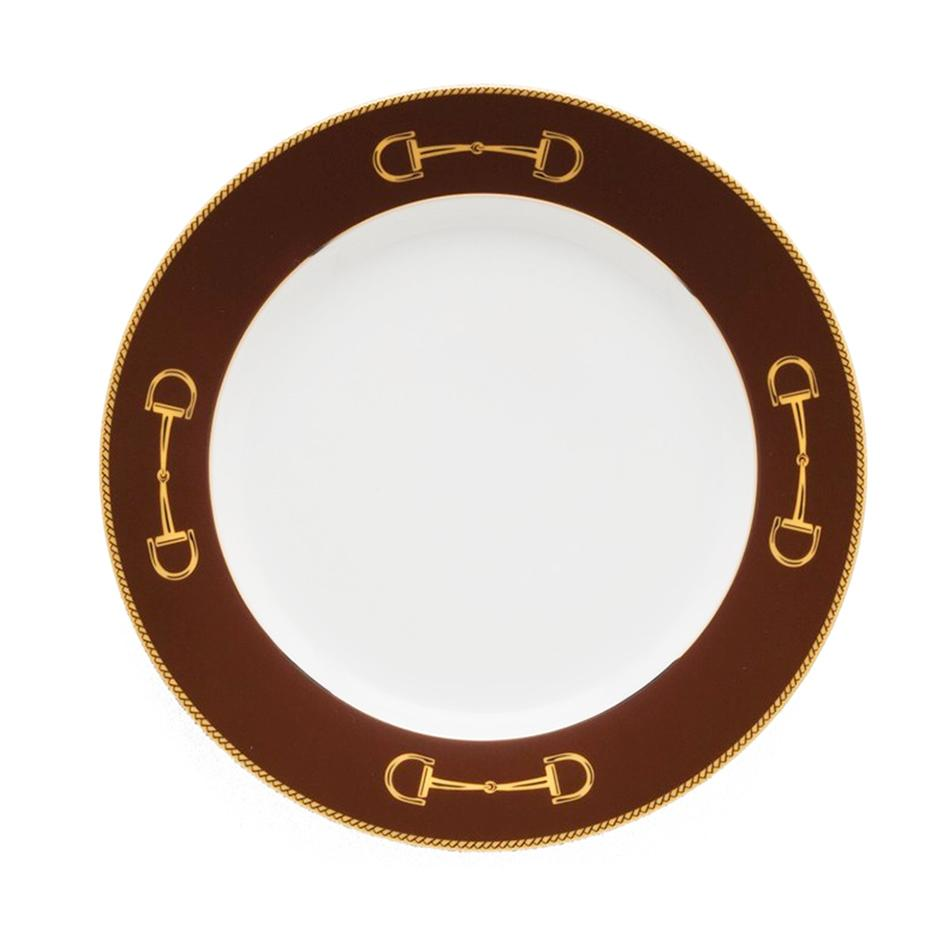 "Cheval Chestnut Brown Salad Plate 8"" - Julie Wear Equestrian Tableware"