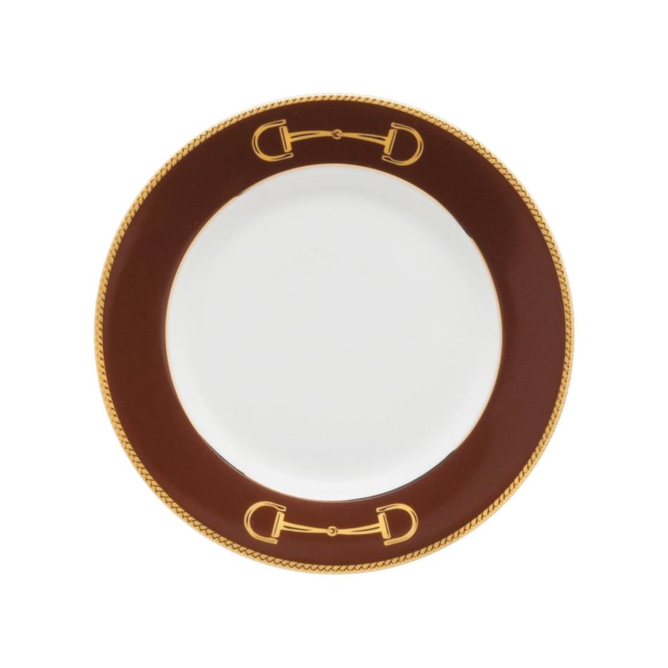 "Cheval Chestnut Brown Bread Plate 6.5"" - Julie Wear Equestrian Tableware"
