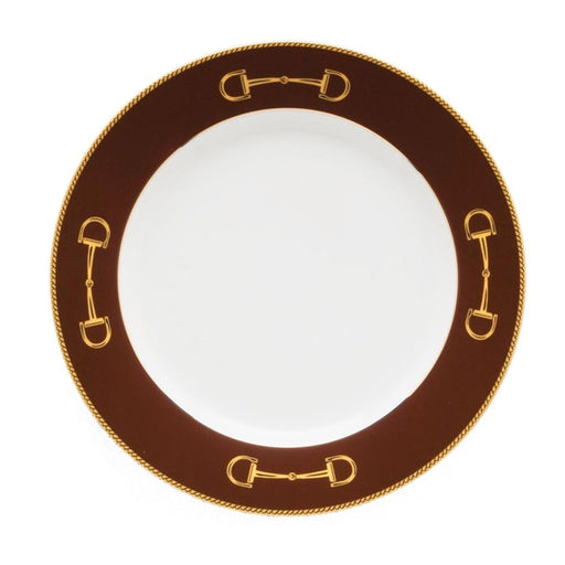 "Cheval Chestnut Brown Luncheon Plate 9"" - Julie Wear Equestrian Tableware"