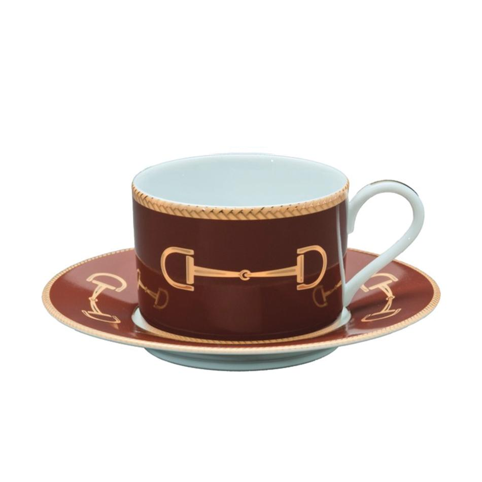 Cheval Chestnut Brown Cup & Saucer - Julie Wear Equestrian Tableware