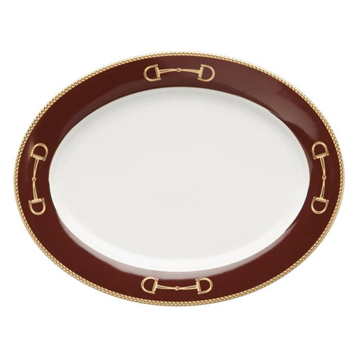"Cheval Chestnut Brown Platter 14.25"" - Julie Wear Equestrian Tableware"