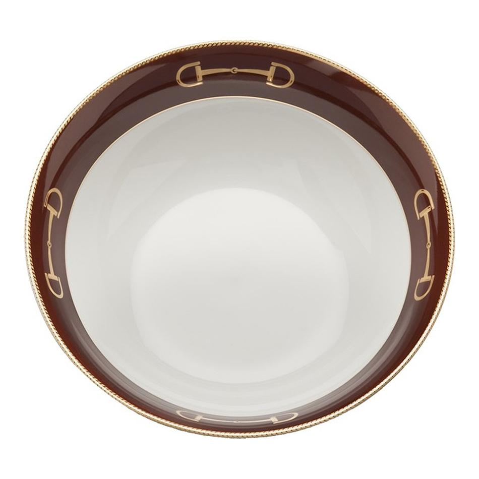 Cheval Chestnut Brown Serve Bowl - Julie Wear Equestrian Tableware