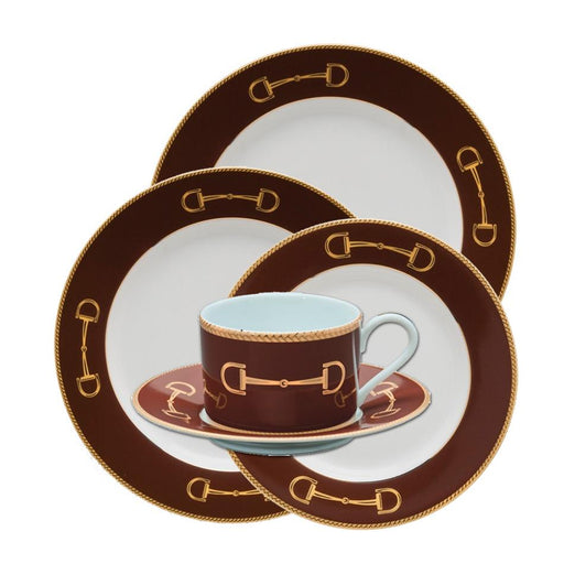 Cheval Chestnut Brown 5 piece Setting - Julie Wear Equestrian Tableware