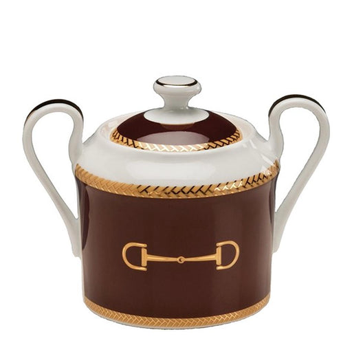 Cheval Chestnut Brown Sugar Bowl - Julie Wear Equestrian Tableware