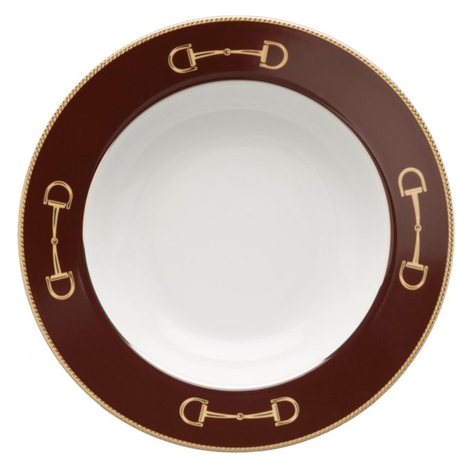 Cheval Chestnut Brown Rim Soup Bowl - Julie Wear Equestrian Tableware