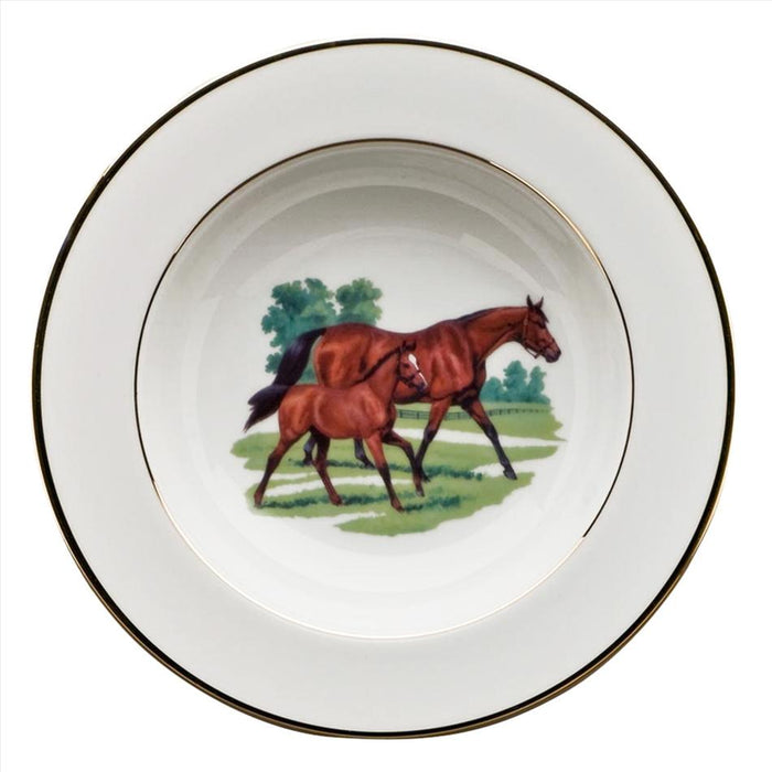 Bluegrass Rim Soup Bowl - Julie Wear Equestrian Tableware