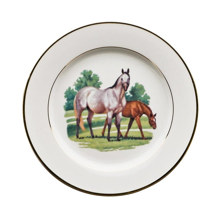 "Bluegrass Dessert Plate 9"" - Julie Wear Equestrian Tableware"