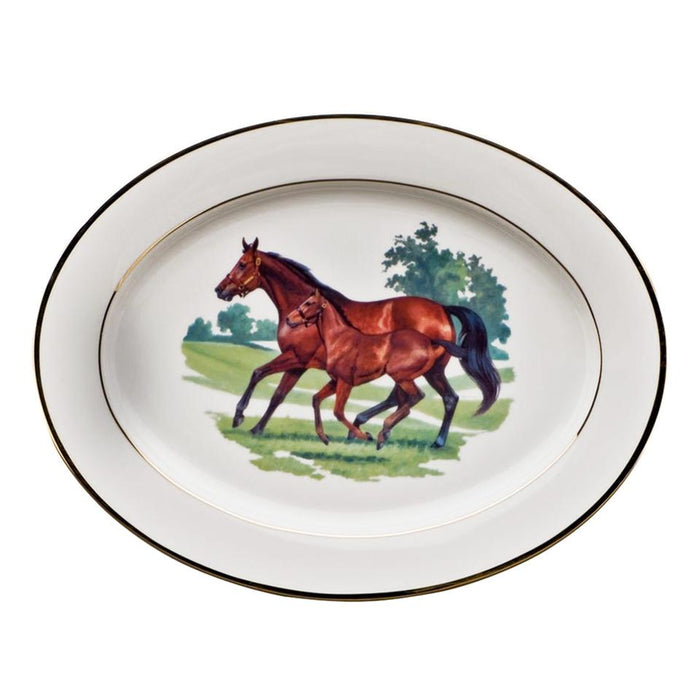 "Bluegrass Platter 14.25"" - Julie Wear Equestrian Tableware"