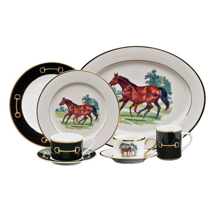 Cheval Black Rim Soup Bowl - Julie Wear Equestrian Tableware