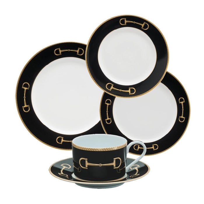 Cheval Black 5-Piece Place Setting - Julie Wear Equestrian Tableware