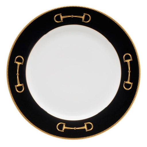"Cheval Black Dinner Plate 10 5/8"" Julie Wear Equestrian Tableware"