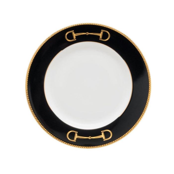 "Cheval Black Bread Plate 6.5"" - Julie Wear Equestrian Tableware"