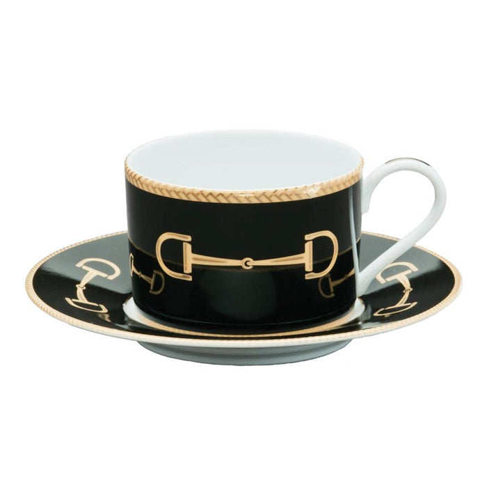 Cheval Black Cup & Saucer - Julie Wear Equestrian Tableware
