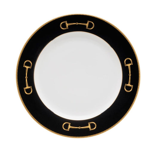 "Cheval Black Luncheon Plate 9"" - Julie Wear Equestrian Tableware"