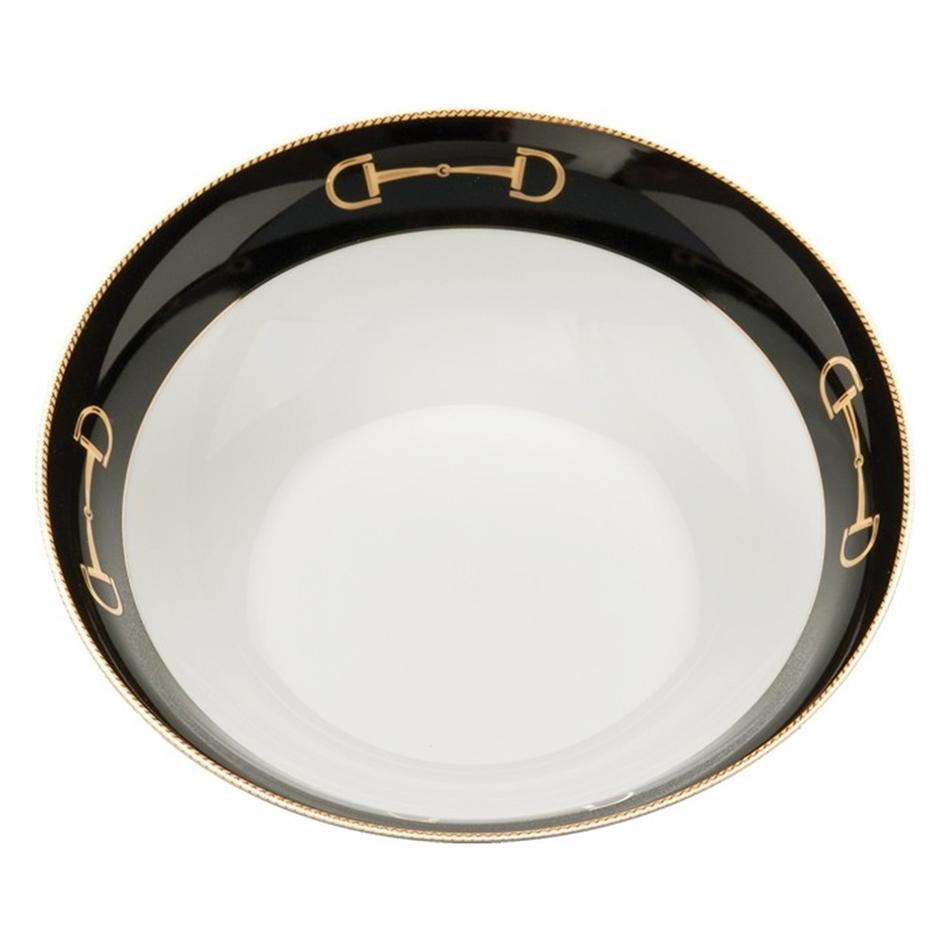 "Cheval Black Serve Bowl 9"" - Julie Wear Equestrian Tableware"
