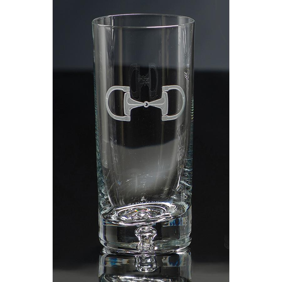 Cheval Etched Crystal Equestrian High Ball Glasses (set of 4)