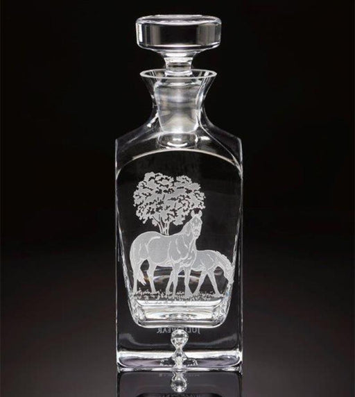 Bluegrass Horses Etched Crystal Square Decanter by Julie Wear