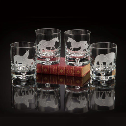 Bluegrass Horses Etched Crystal Rock Glasses (set of 4)