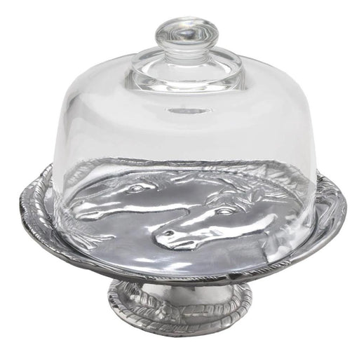 Arthur Court Horse Footed Plate with Glass Dome