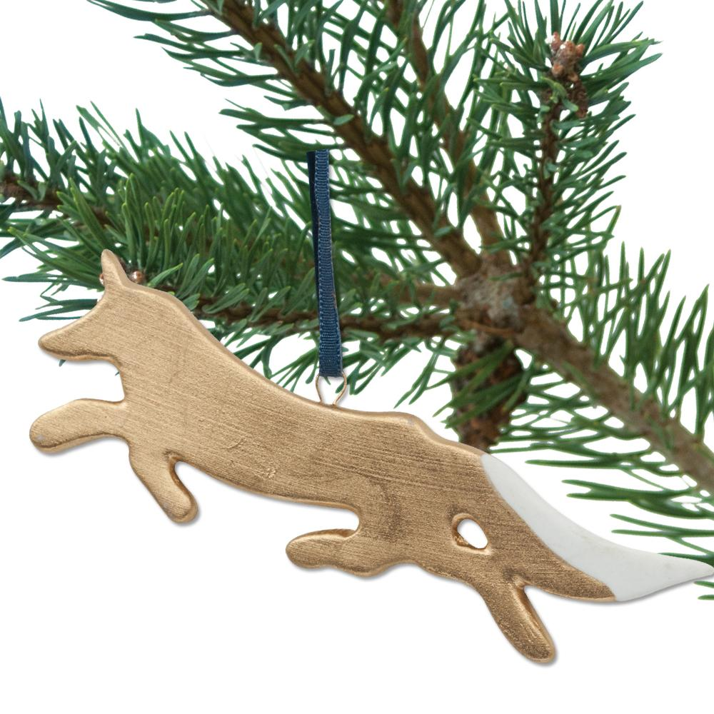 Running Fox Porcelain Ornament