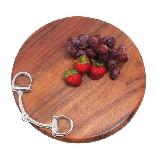 Snaffle Bit Round Wood Cutting Board by Beatrice Ball