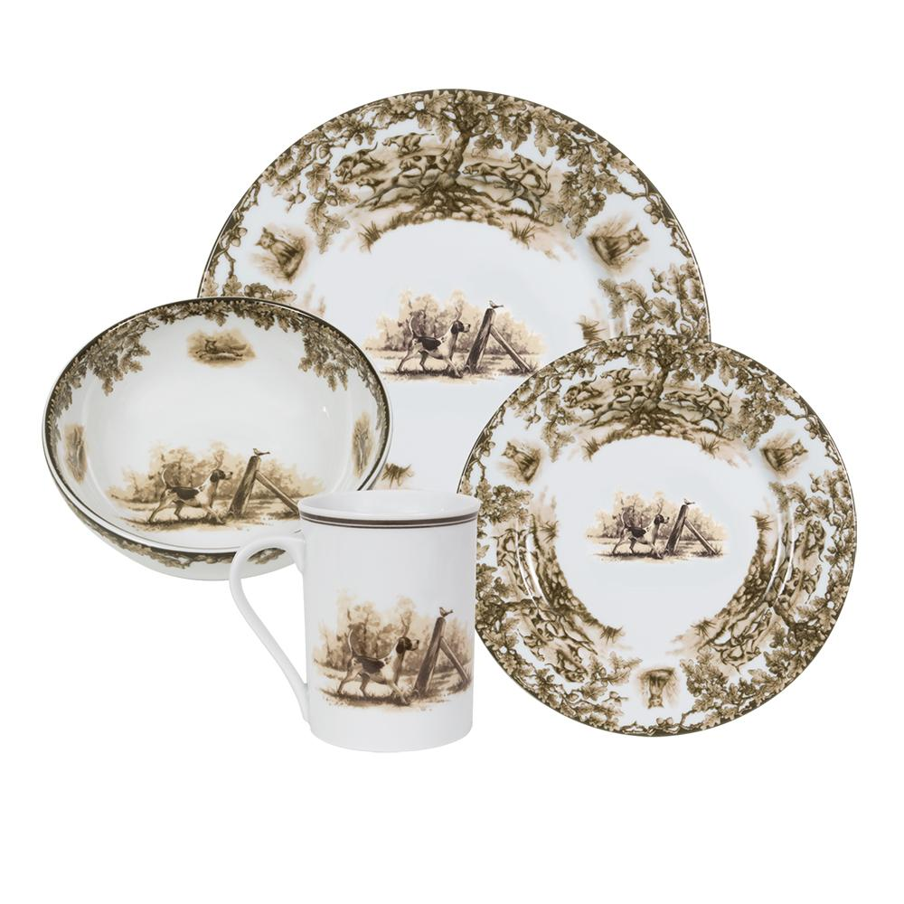 Aiken Hunt Dinnerware 4 Piece Settting - Hound