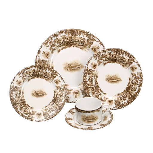Aiken Hunt Dinnerware 5 Piece Setting - Fox