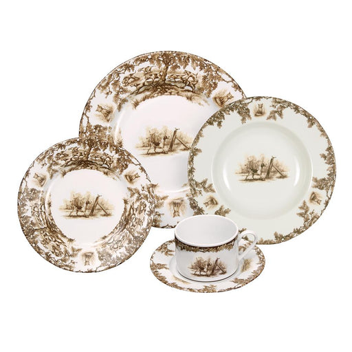 Aiken Hunt Dinnerware 5 Piece Setting - Hound