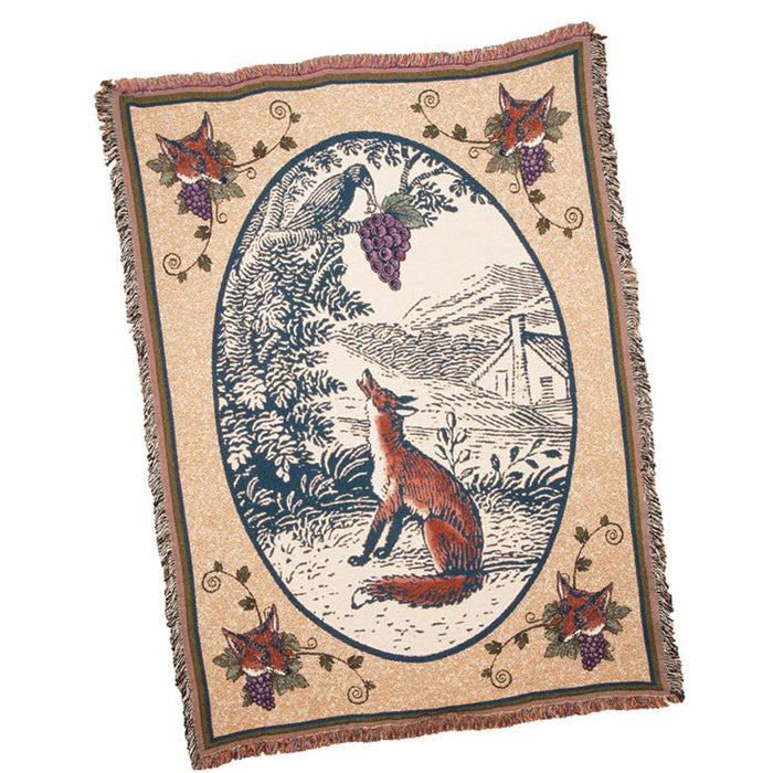 Fox and the Crow Cotton Throw