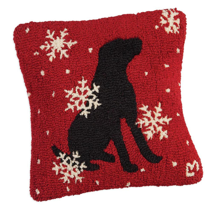 Black Lab Snow Flakes Red Hooked Pillow