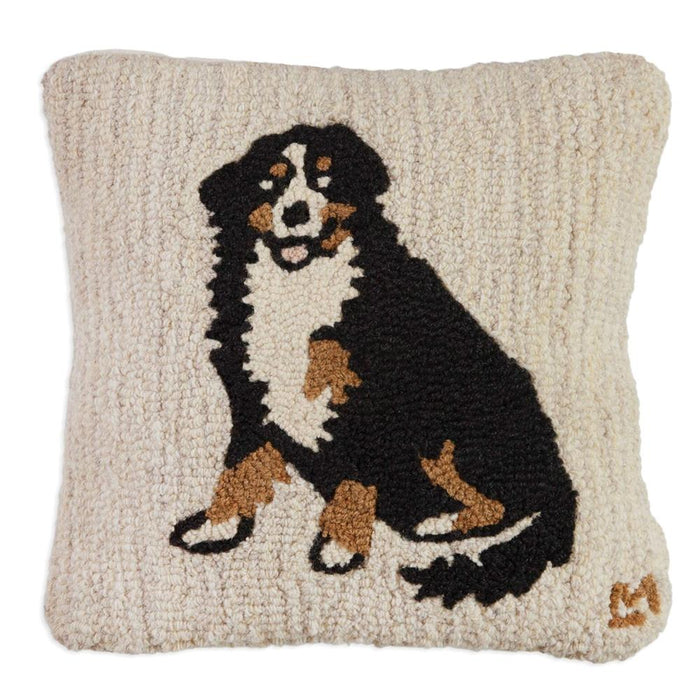 Bernese Mountain Dog Hooked Pillow