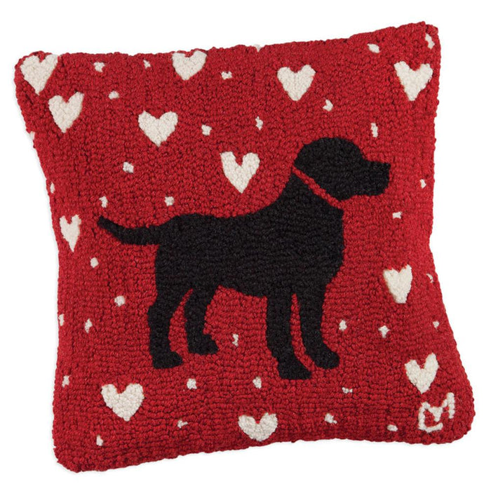 Black Lab Love Red Hooked Pillow